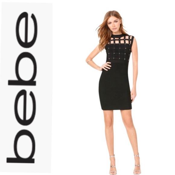 bebe Dresses & Skirts - Bebe bandage dress with gold studs